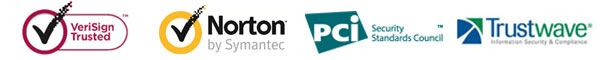 verisign trusted, Norton by symantec, pci security, trustwave